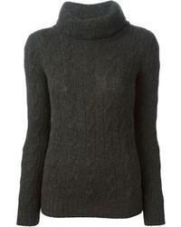 Pull à col roulé en tricot noir Ralph Lauren