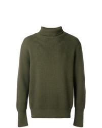 Pull à col roulé en tricot olive Batoner