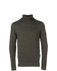 Pull à col roulé en tricot olive Circolo 1901