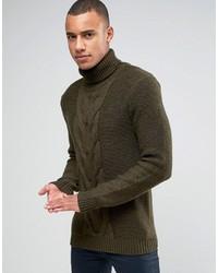 Pull à col roulé en tricot olive Esprit