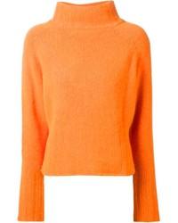 Pull à col roulé en tricot orange