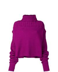 Pull à col roulé en tricot pourpre Unravel Project