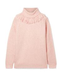 Pull à col roulé en tricot rose Miu Miu