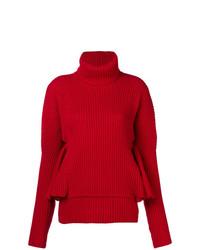 Pull à col roulé en tricot rouge Antonio Berardi