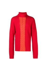 Pull à col roulé en tricot rouge Diesel