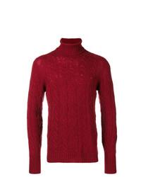 Pull à col roulé en tricot rouge Drumohr
