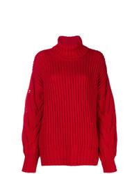 Pull à col roulé en tricot rouge P.A.R.O.S.H.