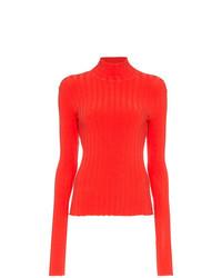 Pull à col roulé en tricot rouge Simon Miller