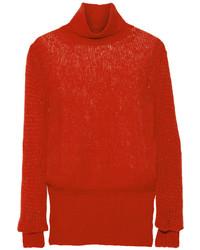 Pull à col roulé en tricot rouge Stella McCartney