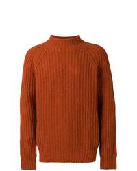 Pull à col roulé en tricot tabac YMC