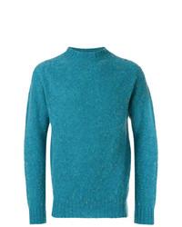 Pull à col roulé en tricot turquoise YMC