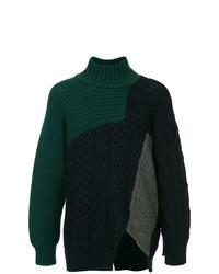 Pull à col roulé en tricot vert foncé