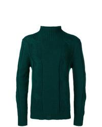 Pull à col roulé en tricot vert foncé Fay