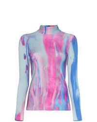 Pull à col roulé imprimé tie-dye bleu clair Paskal