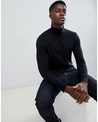 Pull à col roulé noir Burton Menswear