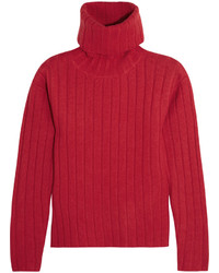 Pull à col roulé rouge DKNY