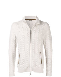 Pull à fermeture éclair en tricot beige