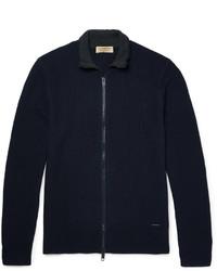 Pull à fermeture éclair en tricot bleu marine Burberry