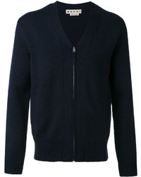 Pull à fermeture éclair en tricot bleu marine Marni