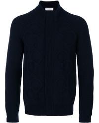 Pull à fermeture éclair en tricot bleu marine Salvatore Ferragamo