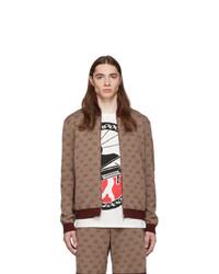 Pull à fermeture éclair en tricot bordeaux Gucci