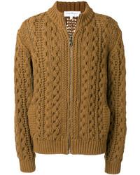 Pull à fermeture éclair en tricot marron Salvatore Ferragamo