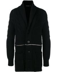 Pull à fermeture éclair en tricot noir Alexander McQueen
