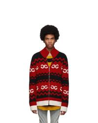 Pull à fermeture éclair en tricot rouge Gucci