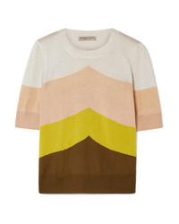 Pull à manches courtes à rayures horizontales multicolore Bottega Veneta