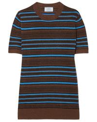 Pull à manches courtes à rayures horizontales multicolore Prada