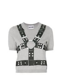 Pull à manches courtes imprimé gris Moschino