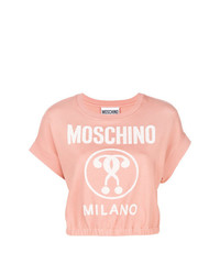 Pull à manches courtes rose Moschino