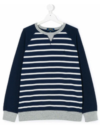 Pull à rayures horizontales bleu marine et blanc