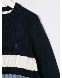 Pull à rayures horizontales bleu marine et blanc Ralph Lauren