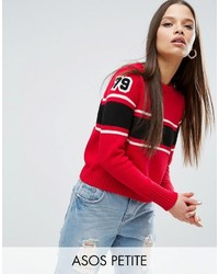 Pull à rayures horizontales rouge Asos