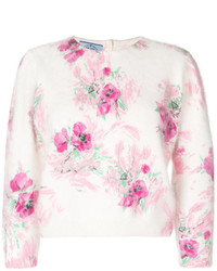 Pull court à fleurs rose Prada