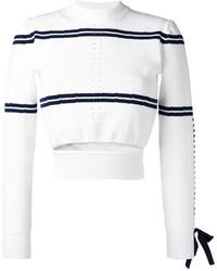 Pull court à rayures horizontales blanc et bleu marine Fendi