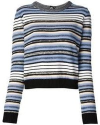 Pull court à rayures horizontales blanc et bleu Proenza Schouler
