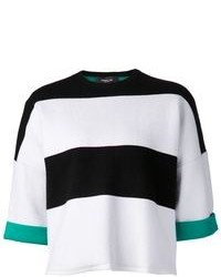 Pull court à rayures horizontales blanc et noir Derek Lam
