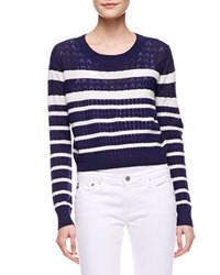 Pull court à rayures horizontales bleu marine et blanc
