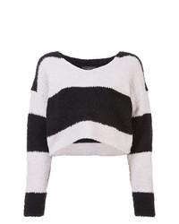 Pull court à rayures horizontales noir et blanc Amiri
