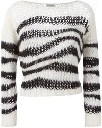 Pull court à rayures horizontales noir et blanc Saint Laurent