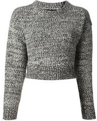 Pull court en tricot gris