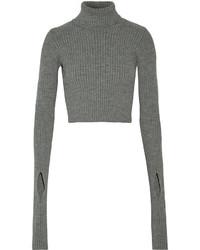 Pull court en tricot gris Jacquemus
