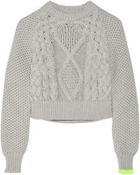 Pull court en tricot gris MM6 MAISON MARGIELA