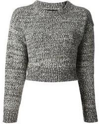 Pull court en tricot gris Proenza Schouler