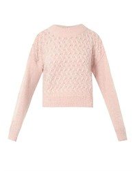 Pull court en tricot rose