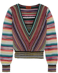 Pull court en tricot rouge Missoni