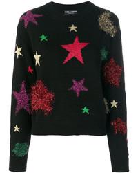 Pull en laine à étoiles noir Dolce & Gabbana