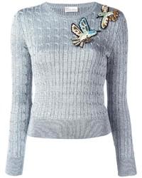 Pull en laine brodé argenté RED Valentino